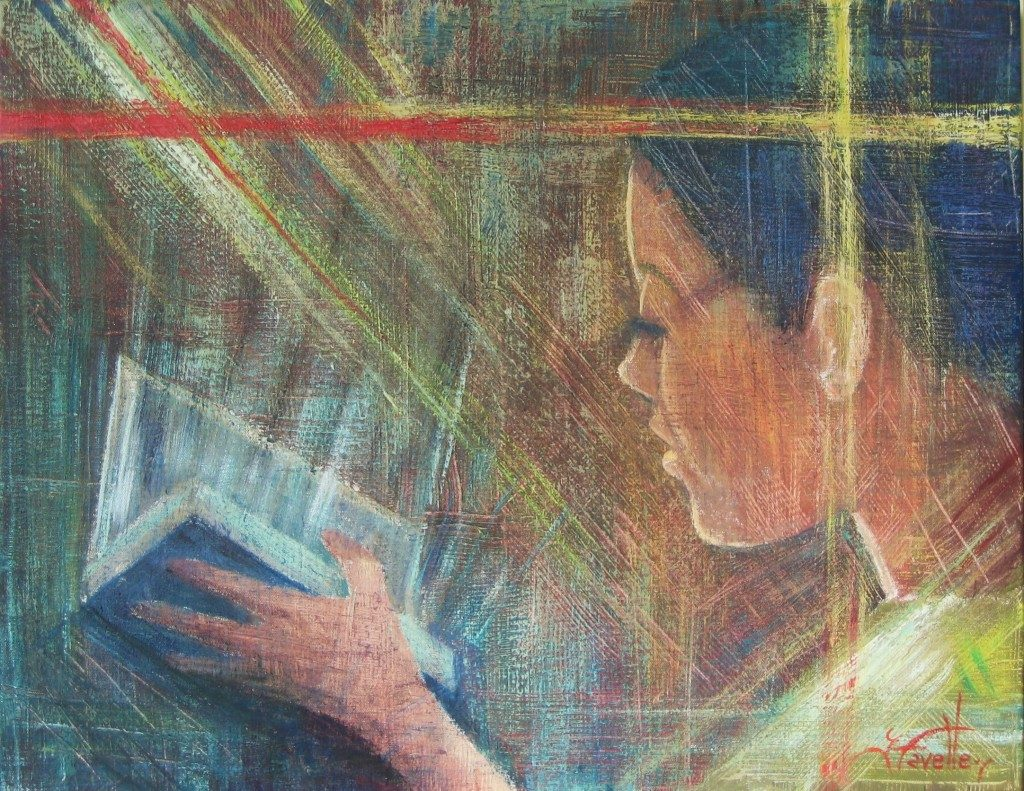 "Reading dimension 22"" X 28"" Acrylic on canvas"