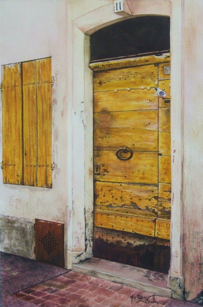 "La porte jaune 16"" X 12"" Watercolor on Arches paper"